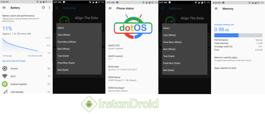 Demo Screenshots DotOS Nougat Custom Roms for Walton Primo GH6GH6+
