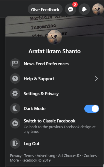Switch between dark and white mode and witch back to classic